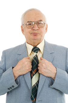 Waist up portrait of successful mature businessman