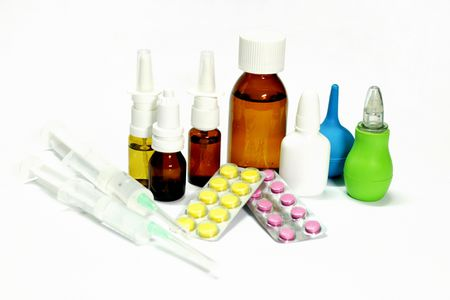 nasal spray, syringes, packs of pills and rubber pear isolated o