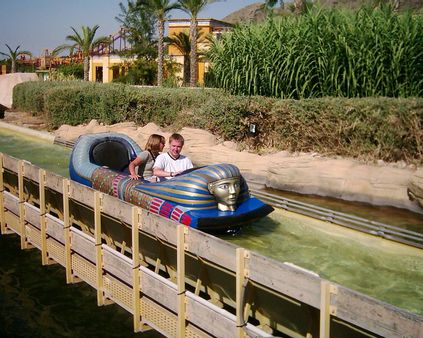 Me and Alice on the Egyptian log flume ride at Terra Mitica
