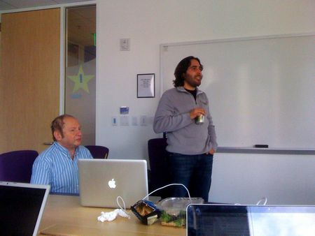 Dr. Abelson and Dr. Adida talking at Flickr