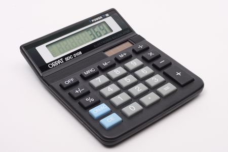 calculator with magnifying glass