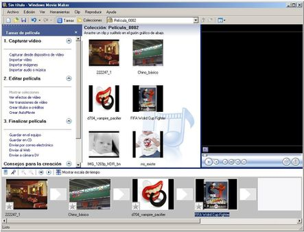 Captura de pantalla - Windows Movie Maker