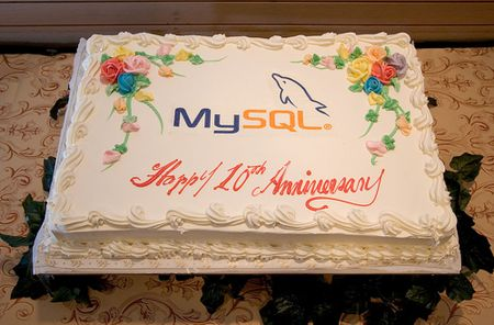 The 10th Anniversary MySQL Birthday Cake. This photograph was taken du
