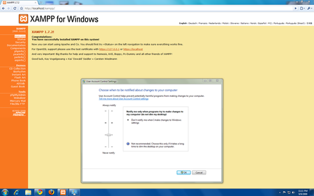 XAMPP works on Windows 7