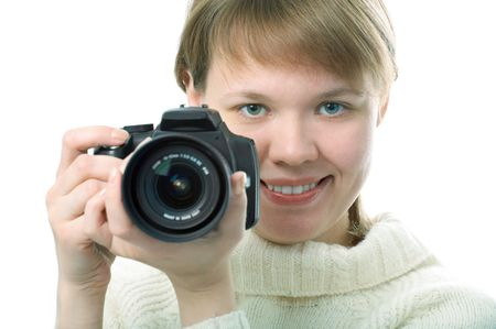 woman photographer with photo camera