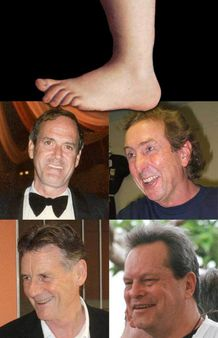 A collage of four of the six members from Monty Python , and the famou