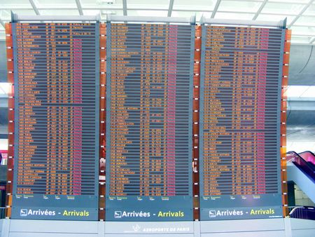 Screens of cancelled flights at Paris CDG during the ash cloud disrupt