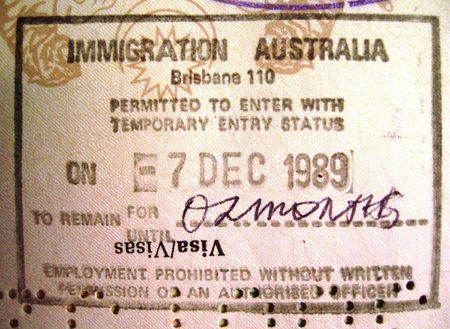 1 Australian passport entry stamp for those requiring visas from Brisb