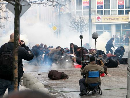 1 Filmmaking of 'Black Thursday' on ulica witojaska in Gdynia. People