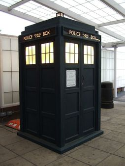 Doctor Who's Tardis under glass