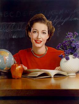 Timken Roller Bearing Co., calendar, September 1950, teacher at desk