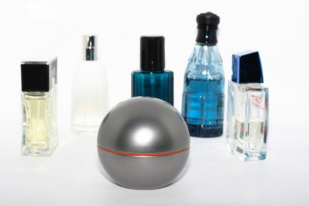 Bottles with perfumes and fragrances