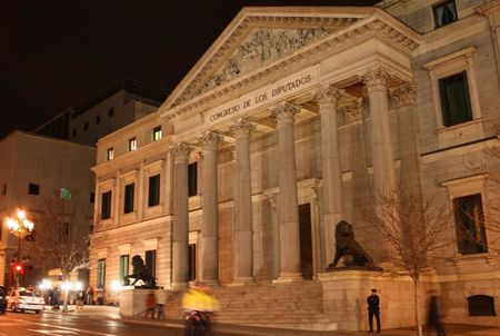 Night view of the main façade of the Spanish Category:Congress of De