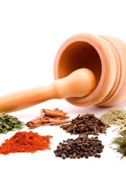 mortar and herb spices studio isolated