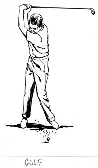 Line art drawing of golf. | raw PSF_G-390009. png. Category:Golf in a
