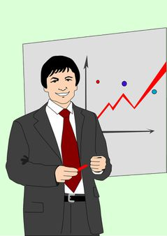 The businessman on a background of a wall with the diagram