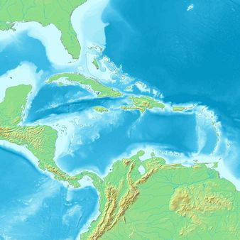 map of Caribbean | Source Map created from http://www2. demis. nl/maps