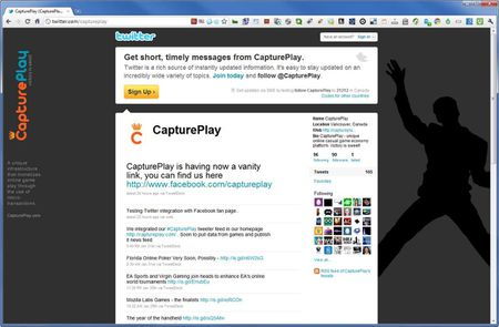 CapturePlay - Online Games - Twitter Page - Layout