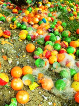 Many used or smashed paintballs on the floor. | Source http://www. fl