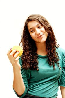 Young girl and apple.