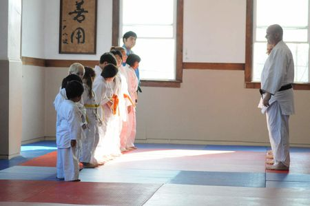Taking bows after judo demonstration in Budokan Dojo during Bunka No H