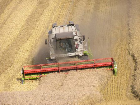 Combine harvester working in Wiltshire