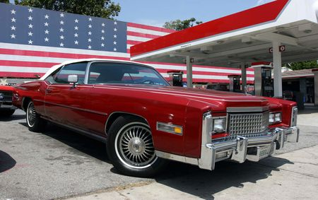 car and us flag