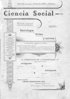 1 Ciencia Social, cover, anarchist magazine from Argentina, 1898. 1 Po