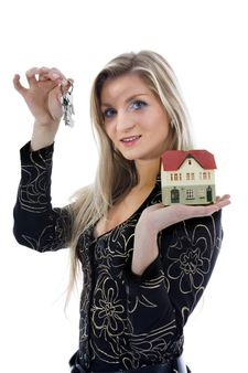 Business woman advertises real estate on isolated background