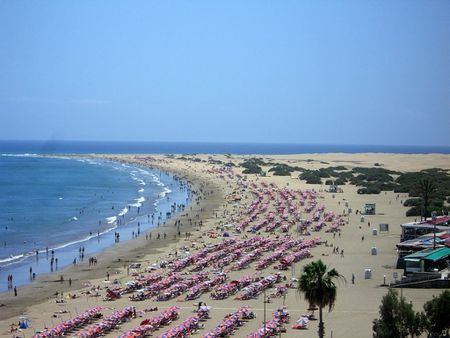 Beach of Playa del Ingles, general view. Gran Canaria, Canary Islands