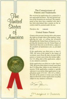 1 United States Patent Cover from a real patent issued | Source | Auth