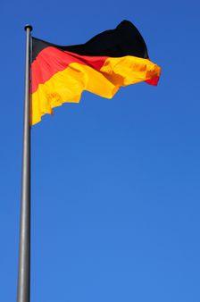 Germany flag in a blue sky