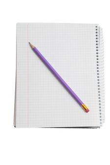 opened notebook with pencil