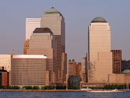 the lower manhattan skyline at sunset