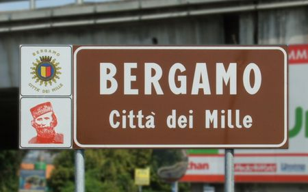 City limit sign of Bergamo installed in 2007 for bicentenary