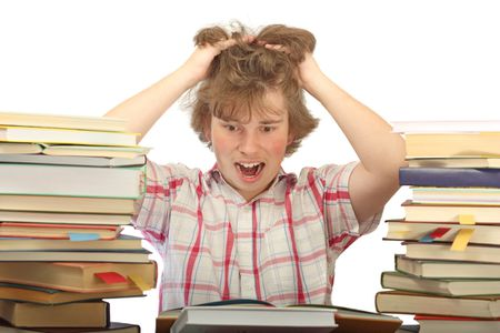 Student horrified with a huge amount of books to read