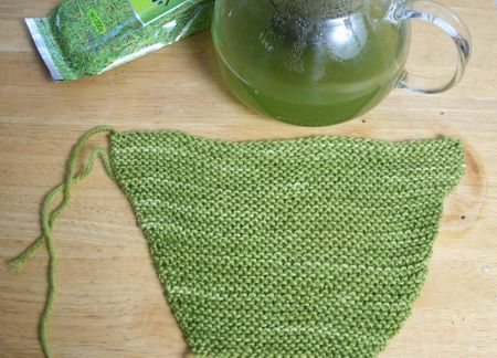 Baby sweater sleeve and green tea
