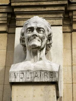 1 a bust of Voltaire, on the fa&#xE7;ade of Lyc&#xE9;e Voltaire in Paris 1 Bus