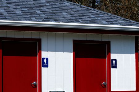 Red Doors to the Restrooms