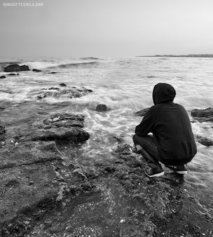 Watching the storm - Selfportrait