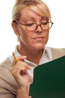 Smart Woman with Pencil and Folder