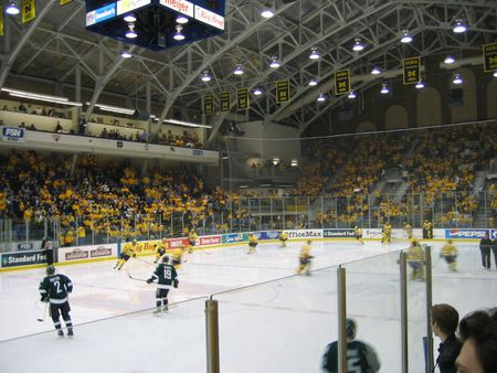 Ice hockey team of University of Michigan , Yost ice arena | Source f