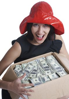 The girl with a box of money on a white background