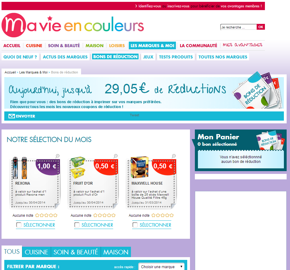 Coupons reductions over blog.com