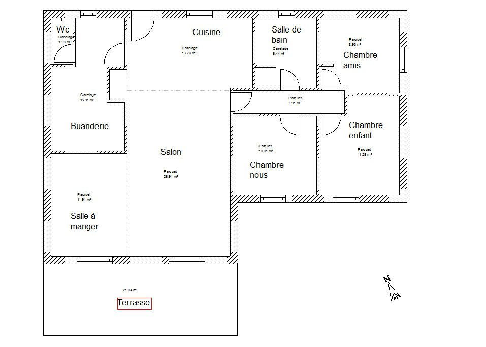 Plan maison en l 28 images plan maison plain pied m for Plan de maison en l