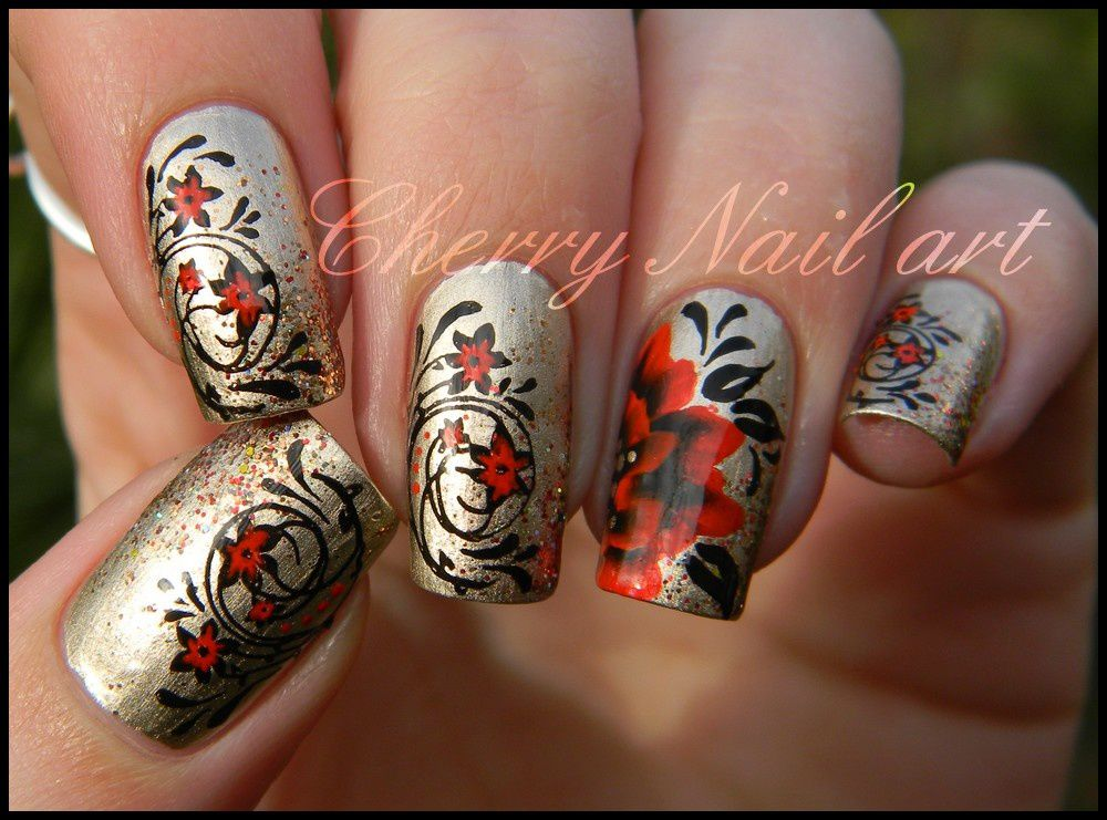 nail art stamping cherry nail art le blog. Black Bedroom Furniture Sets. Home Design Ideas