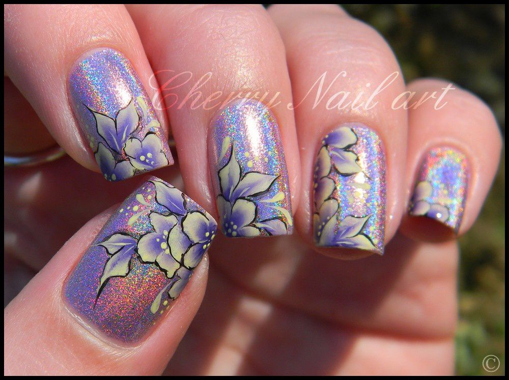 nail-art-one-stroke-fleur-flower-par-touche- - Nail Art One Stroke Nail Art Designs
