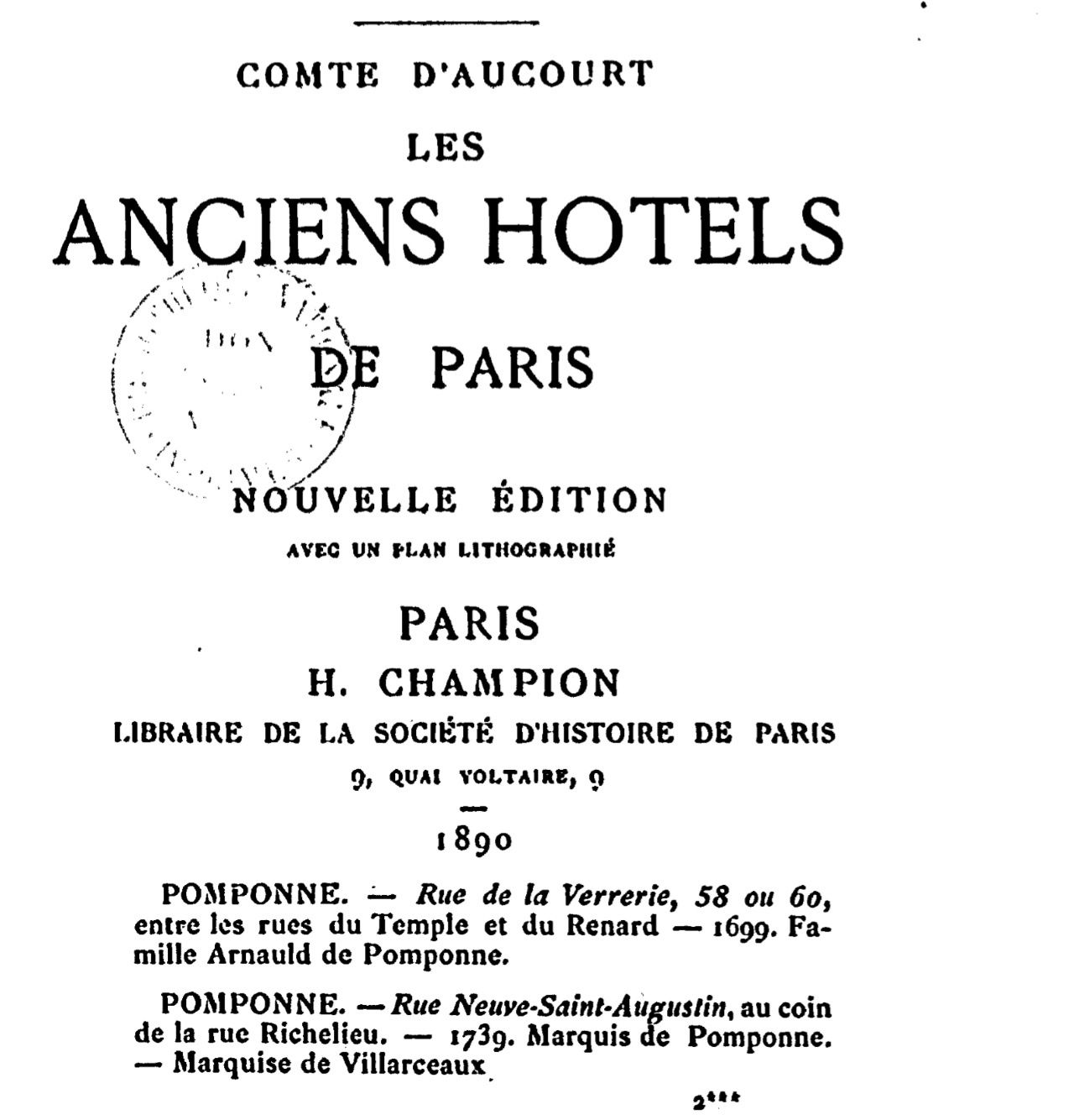 Anciens hotels particuliers de paris le blog de pomponne for Liste des hotels paris