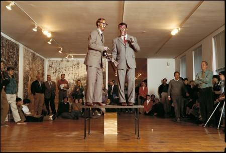 gilbert and george singing sculpture, 1973, performance