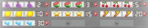 Combinaisons bonus Prizee Jackpot (gains de jetons, raisin, pastèque, cerise, citron, étoile, sept, diamant)